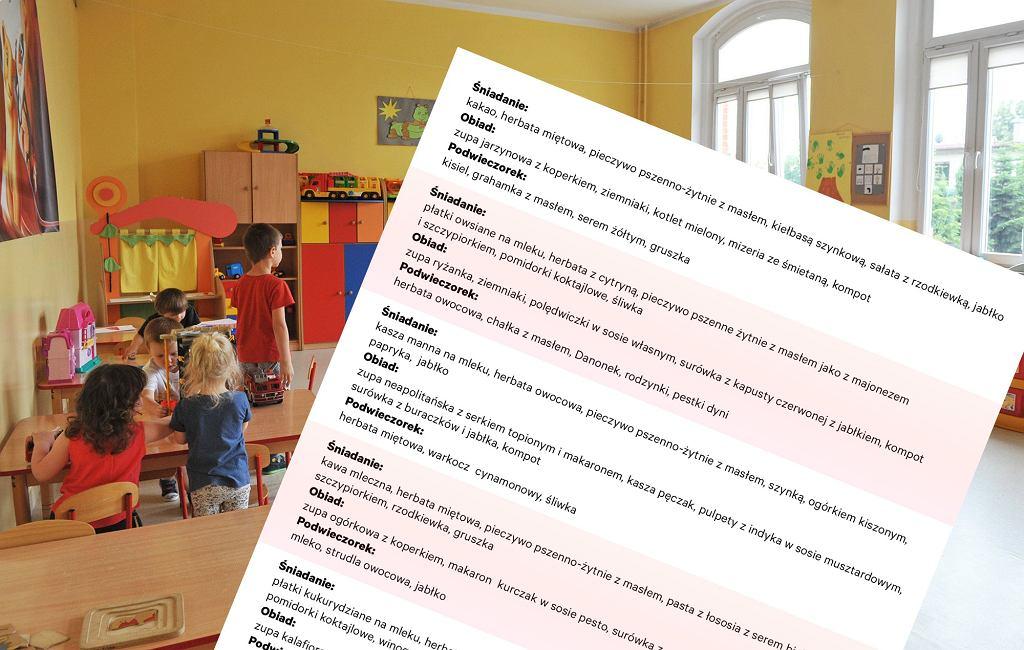 Jadłospis z przedszkola