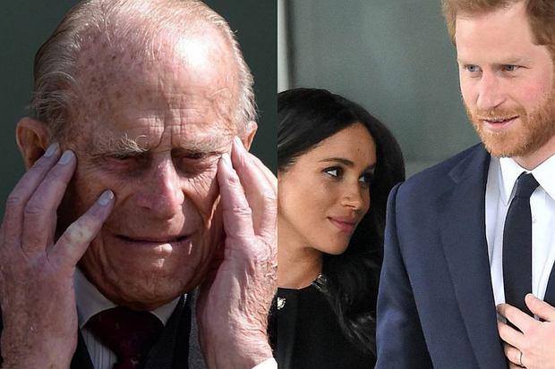 """Książę Filip podobno nie mógł zrozumieć, dlaczego książę Harry i Meghan Markle odchodzą z rodziny królewskiej. """"Był głęboko zdenerwowany""""."""