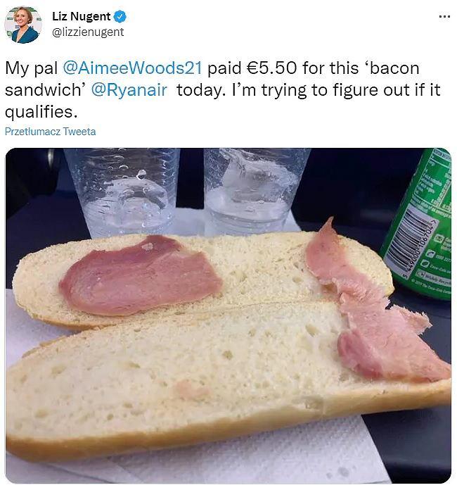 'Najsmutniejsza kanapka na świecie'. Pasażerka wydała równowartość 25 zł. Otrzymała... dwa plasterki mięsa