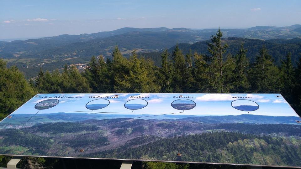 Z wieży na Borowej tablice na tarasie widokowym ułatwiają orientację