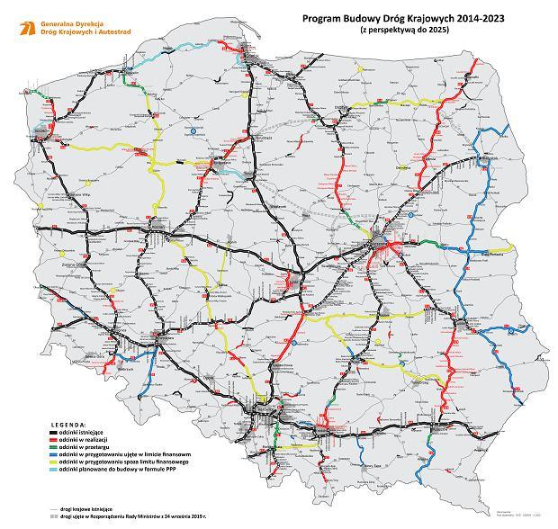 Program Budowy Dróg Krajowych na lata 2014-2023 (z perspektywą do 2025 r.), mapa