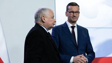 Prezes Jarosław Kaczyński i premier Mateusz Morawiecki.