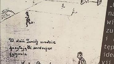 Kartka urodzinowa wysłana przez więźniów do bliskiej osoby. Rysunek prawdopodobnie przedstawia rozgrywany w obozie mecz.