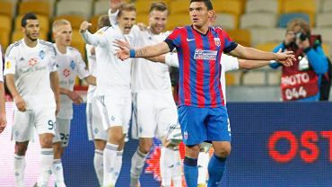 Steaua Bucharests Keseru reacts after Dynamo Kievs Teodorczyk scored third goal during their Europa League Group J soccer match at the Olympic stadium in Kiev
