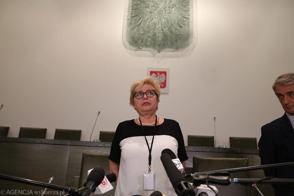 Pierwsza Prezes Sądu najwyższego Małgorzata Gersdorf wygłasza oświadczenie ws. PiS-owskich ustaw ograniczających niezależność sądownictwa. Warszawa, 13 lipca 2017