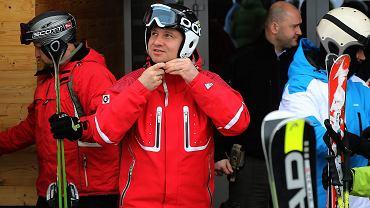 Tatrzańska Łomnica, Słowacja, luty 2015. Prezydent na nartach
