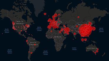 Mapa zakażeń koronawirusem na świecie, poniedziałek 9 marca