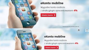 Reklama mBanku przed zmianami (u góry) i po zmianach (u dołu)