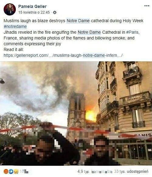 Uśmiechnięci mężczyźni przed płonącą katedrą Notre Dame
