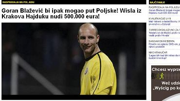 Informacja w chorwackim portalu o tym, że Goran Blażević trafi do Wisły