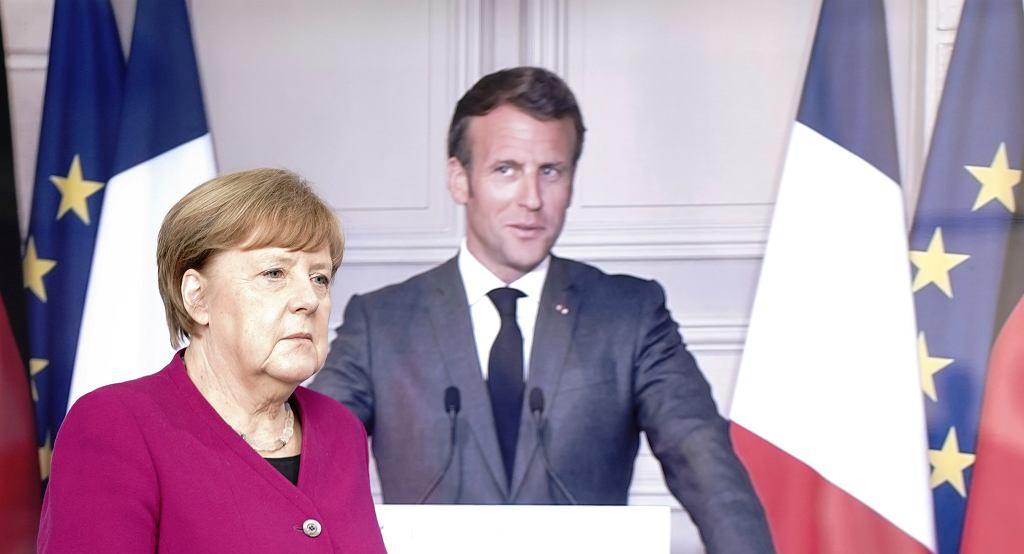 Angela Merkel, kanclerz Niemiec i Emmanuel Macron, prezydent Francji.