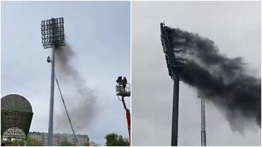 Pożar słupa oświetleniowego przed meczem GKS-u Bełchatów z Radomiakiem