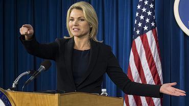 Rzeczniczka amerykańskiego Departamentu Stanu Heather Nauert podczas konferencji prasowej. Waszyngton, 13 września 2017
