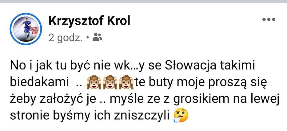 Wpis Krzysztofa Króla po meczu Polska - Słowacja