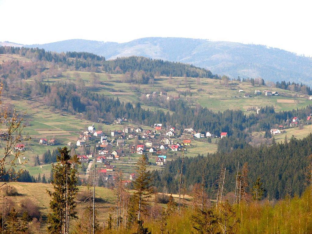 Widok na wieś Nieledwia na Żywiecczyźnie