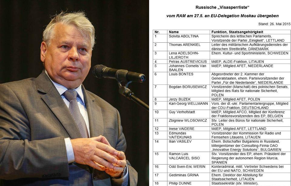 Na czarnej liście znajduje się 89 europejskich polityków, w tym 18 z Polski, z marszałkiem Senatu Bogdanem Borusewiczem na czele