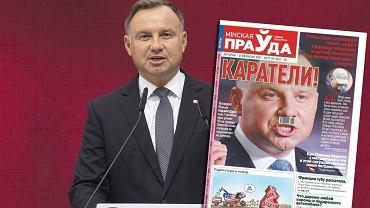Prezydent Andrzej Duda i okładka białoruskiej gazety 'Mińska Prawda'