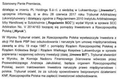 fragment listu PL Holdings do wicepremiera Morawieckiego