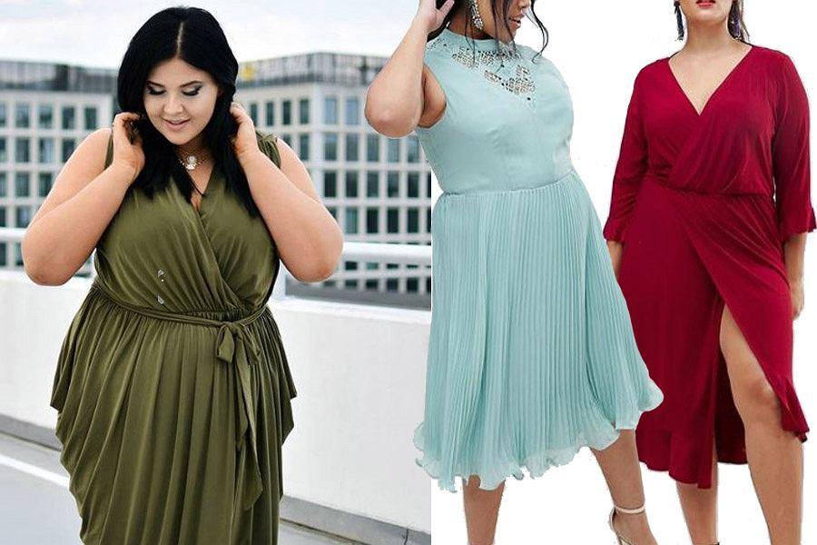Kolaż, sukienki dla puszystych/Materiały partnera