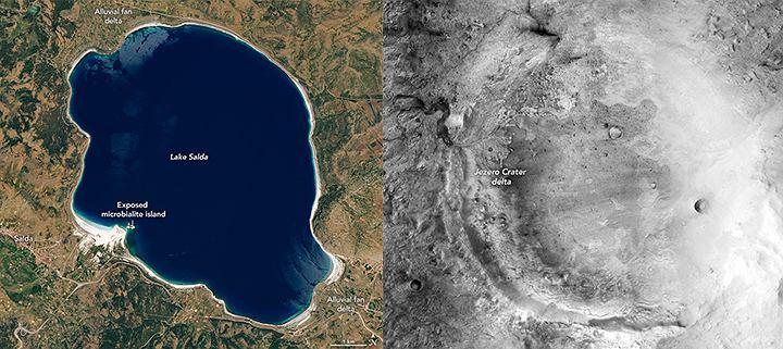 Jezioro w Turcji i krater na Marsie