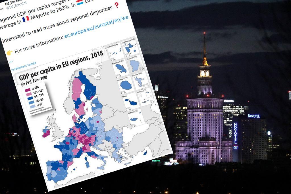 PKB w regionach UE, w Polsce wyróżnia się Warszawa.