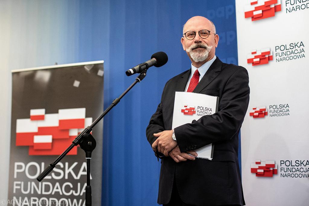 Maciej Świrski podczas briefingu prasowego na temat nowego projektu PFN
