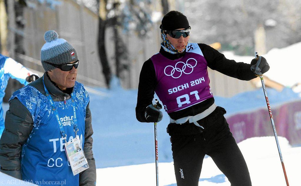 Trener Aleksander Wierietielny i Justyna Kowalczyk