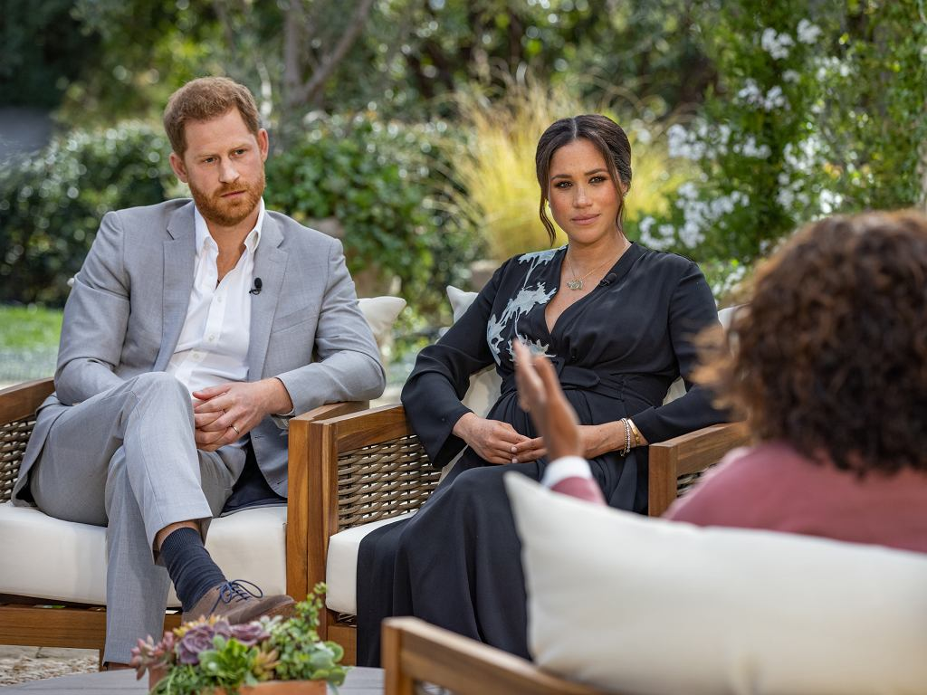 Książę Harry i księżna Meghan podczas wywiadu u Oprah