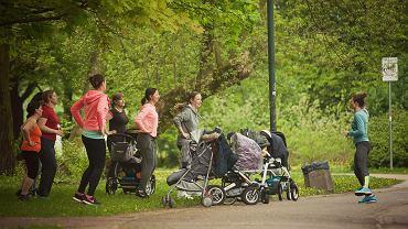 """Wiele mam po porodzie rezygnuje z aktywności fizycznej. Wszak realizacja domowych obowiązków i ciągła uwaga skupiona na dziecku pozbawia je sił na realizację jakichkolwiek innych działań. Wbrew pozorom jednak przekonanie się do sportu niesie więcej korzyści, niż niektórym się wydaje. Dorosły lepiej się czuje, ma więcej energii. Forma rośnie, więc rodzic jest w stanie sprostać wymogom dorastającego maluszka. Ponadto wzrasta umiejętność efektywnego zarządzania dobą. Stopniowo, w sposób niewymuszony, naturalny, mama porzuca czynności, które sprawiają jedynie, iż czas przecieka jej między palcami. Nie masz z kim zostawić dziecka? Nie musisz! Te mamy ćwiczą, chudną i motywują się nawzajem. A wszystko to, z maluszkiem u boku. Na zdjęciu grupa mam ćwiczy w parku pod czujnym okiem Ani Dziedzic, autorki programu """"Be fit mom""""."""