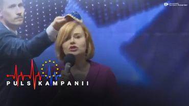 Debata w Kielcach. Kandydat Konfederacji przyłożył jarmułkę do głowy kandydatki PiS