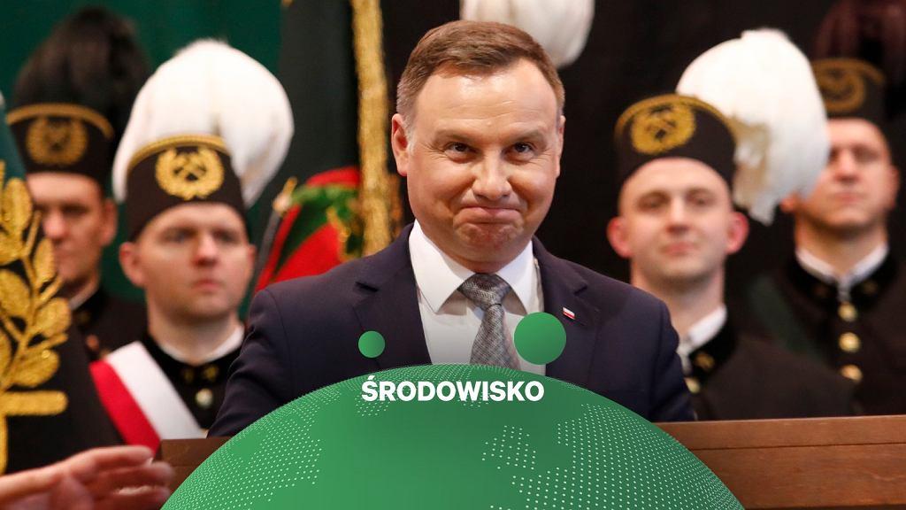 Prezydent Andrzej Duda podczas Akademii Barbórkowej w 2018 roku