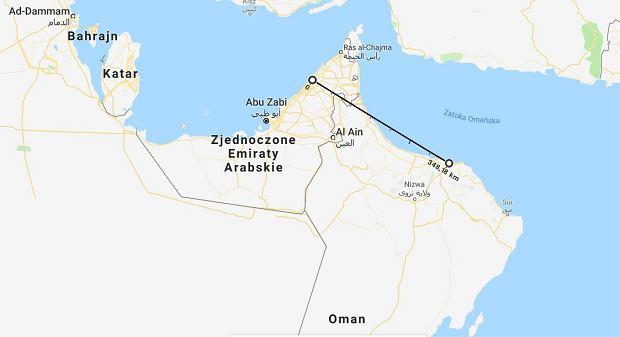 Dubaj i Maskat dzieli niespełna 349 km