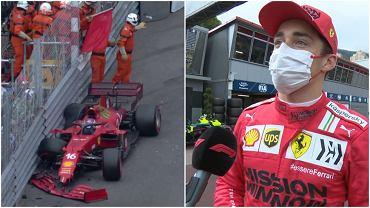 Charles Leclerc zdobył pole position po kwalifikacjach do GP Monako, ale rozbił bolid na swoim ostatnim okrążeniu