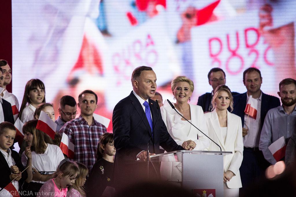 12.07.2020, Pułtusk, Andrzej Duda po ogłoszeniu wyników exit poll.