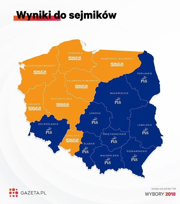 Wyniki wyborów do sejmików wg województw