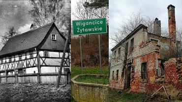 Dawny widok domu w Wigancicach Żytawskich (po lewej) oraz widok obecny