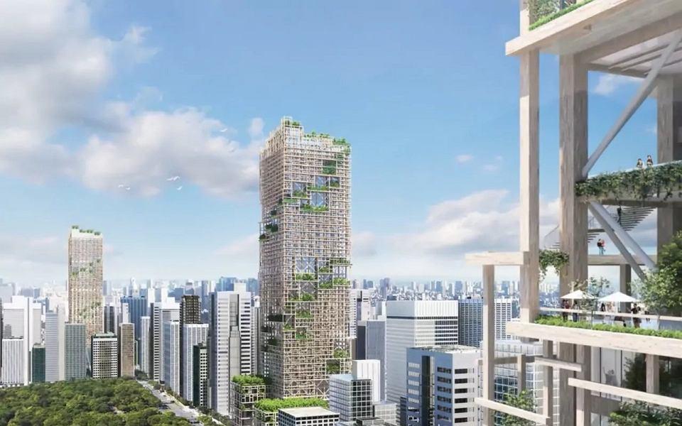 Wizualizacja drewnianego wieżowca W350 w Tokio