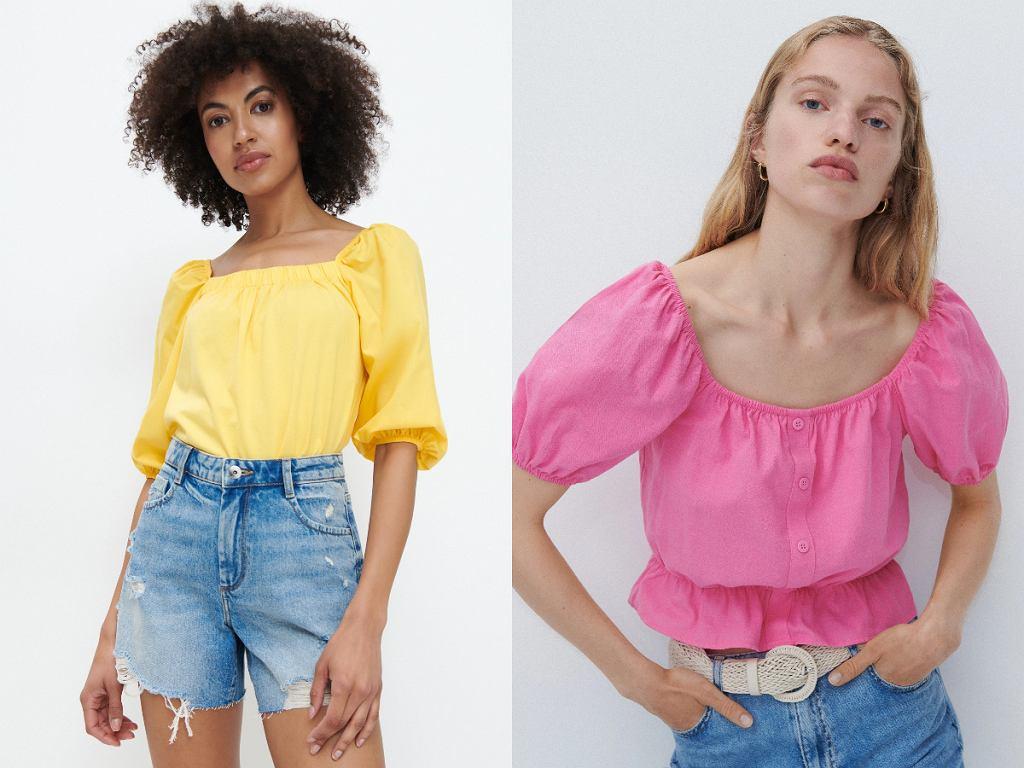 Kolorowa bluzka z bufiastymi rękawami