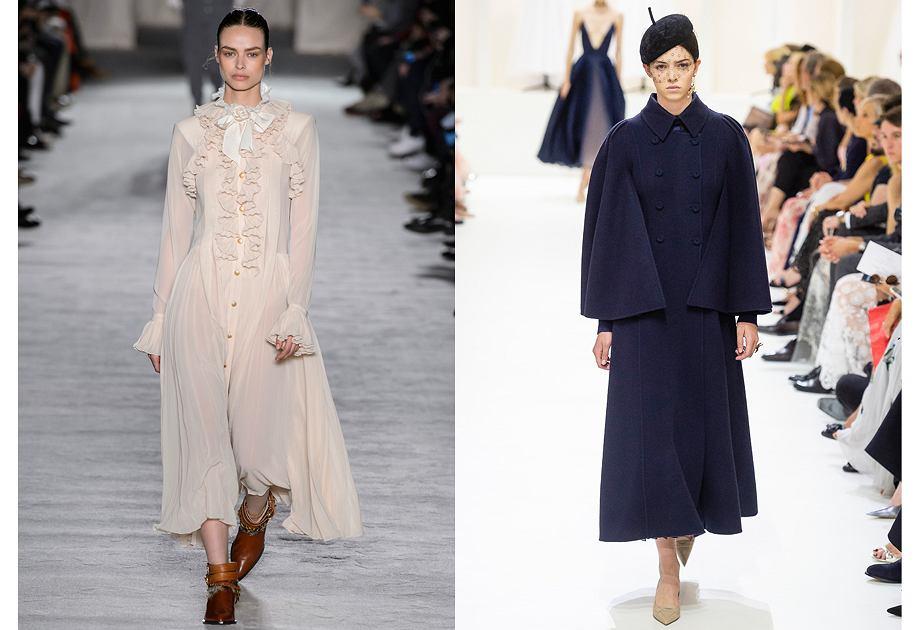 W kolekcjach na jesień-zimę 2018/2019 znaleźliśmy dużo odniesień do stylu Mary Poppins. Philiosophy by Lorenzo Serafini (po lewej), Dior Haute Couture (po prawej)