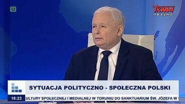 2.10.2019, prezes PiS Jarosław Kaczyński jako gość programu 'Rozmowy niedokończone' w telewizji Trwam i Radiu Maryja.