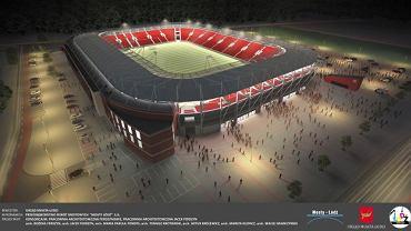 Wizualizacja nowego stadionu na Widzewie. Widok z lotu ptaka w nocy