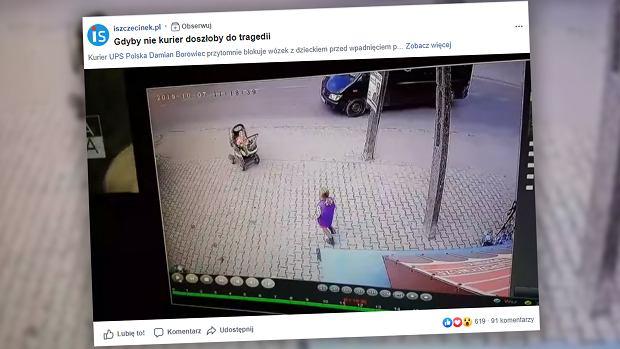 Bohaterski kurier uratował dziecko: Zadziałał instynkt. Wózek staczał się wprost na jezdnię