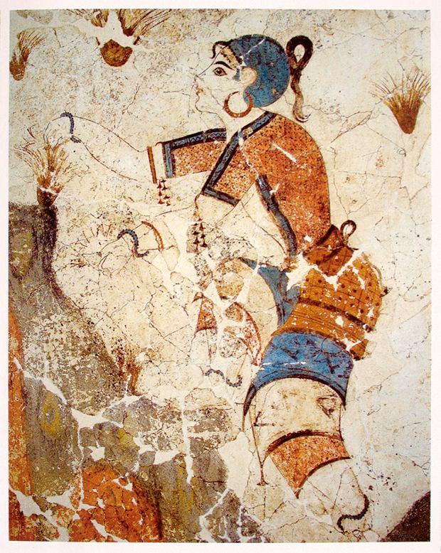 Dziewczyna zbierająca szafran, malowidło odkryte w Akrotiri, Santorini (1600-1500 r. p.n.e.)