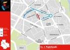 Nowe objazdy na Żoliborzu. Zamykają jezdnię ul. ks. Popiełuszki