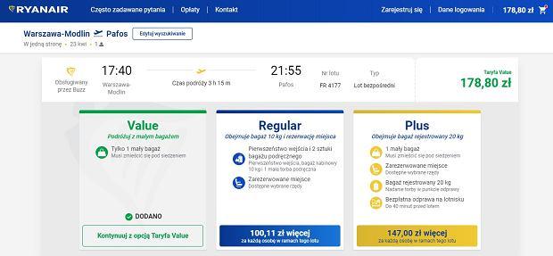 Ryanair - system rezerwacji
