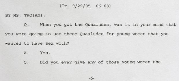 Fragment zeznań Billa Cosby'ego z 2005 roku