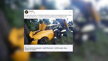 Krapkowice. Pracownik komisu rozbił drogi sportowy samochód McLaren i nie poniesie kary