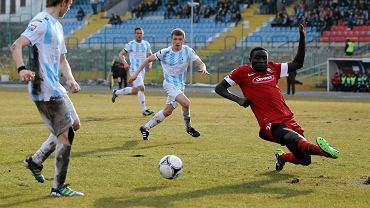 Mecz Stomil Olsztyn - Kolejarz Stróże na stadionie przy al. Piłsudskiego w rundzie wiosennej sezonu 2012/2013