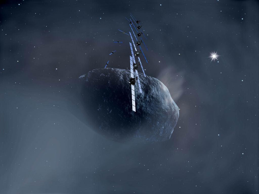Schemat Rosetty orbitującej wokół komety