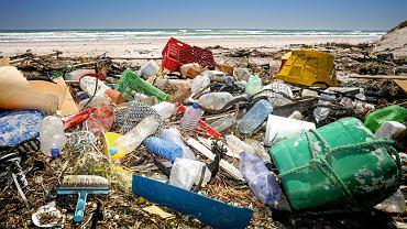 Śmieci na plaży.